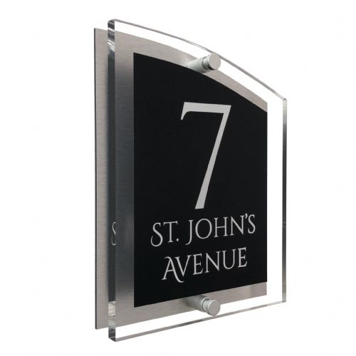 Arc Shape - Clear Acrylic House Sign - Black Colour with White text in Font  1